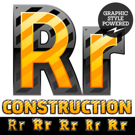 Vector set of striped orange and yellow alphabet in black border. Warning of danger style. Letter R