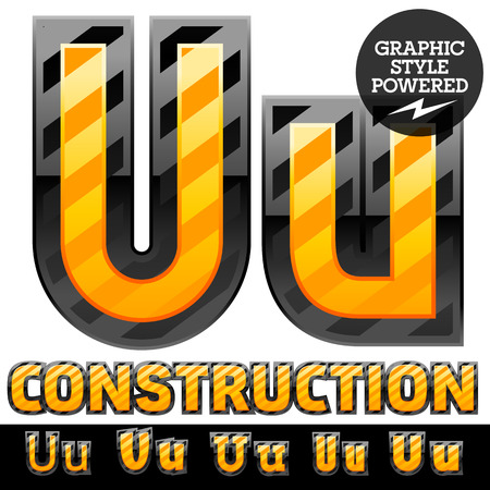 defensive: Vector set of striped orange and yellow alphabet in black border. Warning of danger style. Letter U Illustration