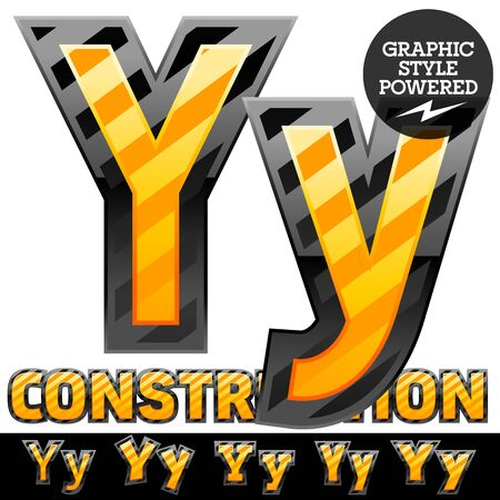 defensive: Vector set of striped orange and yellow alphabet in black border. Warning of danger style. Letter Y