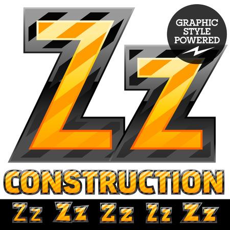 Vector set of striped orange and yellow alphabet in black border. Warning of danger style. Letter Z