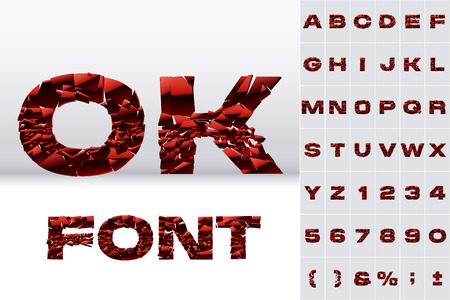 A vector letters set of a red collapsing alphabet