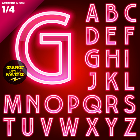 neon glow alphabet: Vector illustration of abstract neon tube alphabet for light board. Red Art deco Uppercase Stock Photo