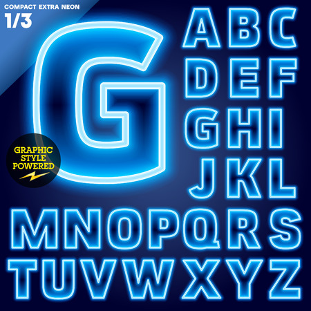 night club: Vector illustration of abstract neon tube alphabet for light board. Blue
