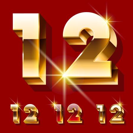 optionnel: Vector set de luxe police d'or �tincelant. Le style rouge et or facultatif. Nombres 1 2
