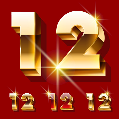 deluxe: Vector set of deluxe sparkling gold font. Optional red and gold style. Numbers 1 2