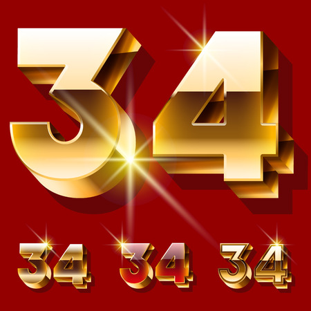 deluxe: Vector set of deluxe sparkling gold font. Optional red and gold style. Numbers 3 4 Illustration