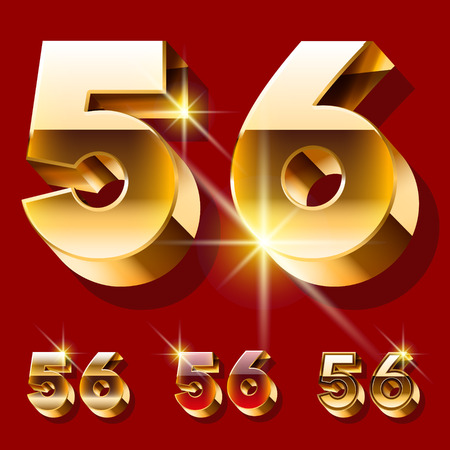 gold font: Vector set of deluxe sparkling gold font. Optional red and gold style. Numbers 5 6