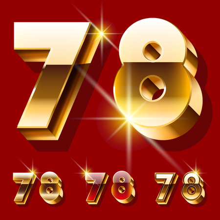 7 8: Vector set of deluxe sparkling gold font. Optional red and gold style. Numbers 7 8 Illustration