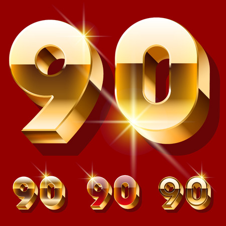 gold font: Vector set of deluxe sparkling gold font. Optional red and gold style. Numbers 9 0