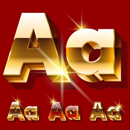 Vector set of deluxe sparkling gold font. Optional red and gold style. Letter AVector set of deluxe sparkling gold font. Optional red and gold style. Letter A