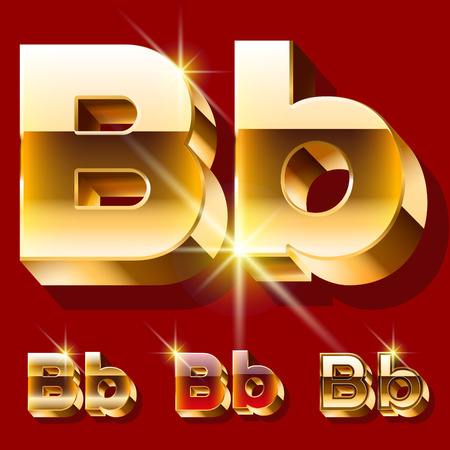 deluxe: Vector set of deluxe sparkling gold font. Optional red and gold style. Letter B