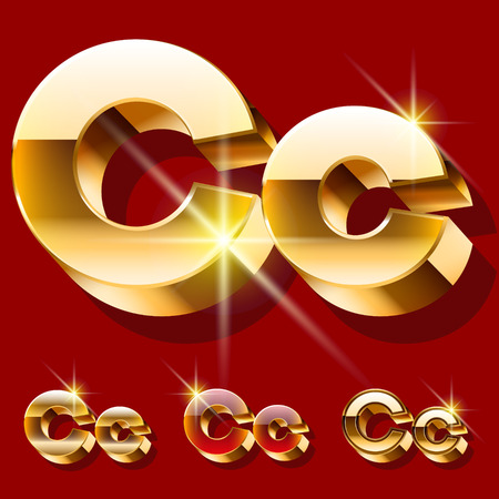 deluxe: Vector set of deluxe sparkling gold font. Optional red and gold style. Letter C