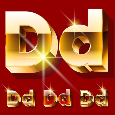 deluxe: Vector set of deluxe sparkling gold font. Optional red and gold style. Letter D
