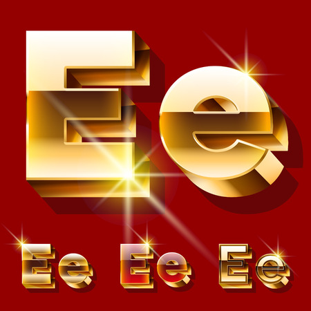 deluxe: Vector set of deluxe sparkling gold font. Optional red and gold style. Letter E