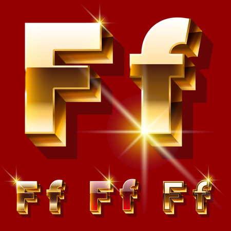 Vector set of deluxe sparkling gold font. Optional red and gold style. Letter F Illusztráció