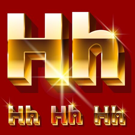 Vector set of deluxe sparkling gold font. Optional red and gold style. Letter H Illusztráció