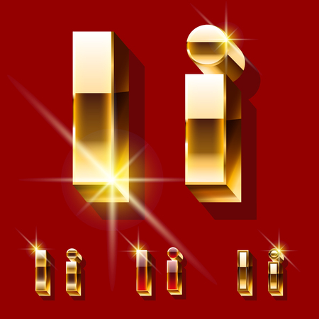 deluxe: Vector set of deluxe sparkling gold font. Optional red and gold style. Letter I