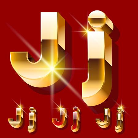 Vector set of deluxe sparkling gold font. Optional red and gold style. Letter J Illusztráció
