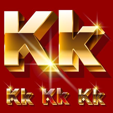 gold font: Vector set of deluxe sparkling gold font. Optional red and gold style. Letter K Illustration