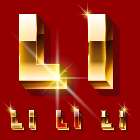 optional: Vector set of deluxe sparkling gold font. Optional red and gold style. Letter L Illustration