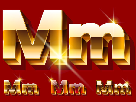 deluxe: Vector set of deluxe sparkling gold font. Optional red and gold style. Letter M
