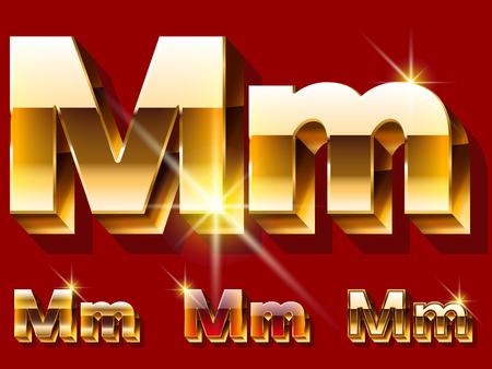 Vektor-Satz von deluxe glitzernden goldenen Schriftart. Optional rot und gold-Stil. Buchstabe M Standard-Bild - 39287336