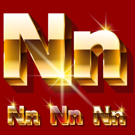 princely: Vector set of deluxe sparkling gold font. Optional red and gold style. Letter N
