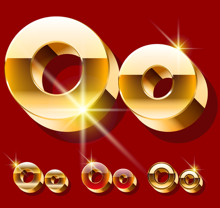 deluxe: Vector set of deluxe sparkling gold font. Optional red and gold style. Letter O