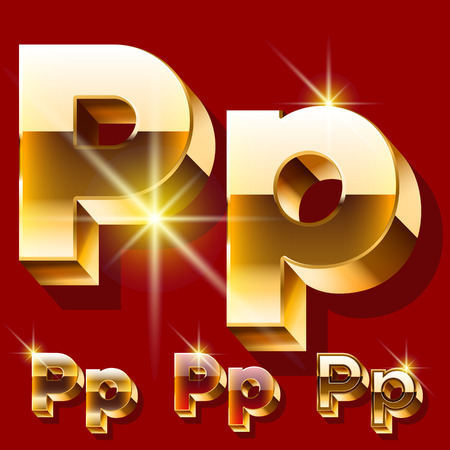 deluxe: Vector set of deluxe sparkling gold font. Optional red and gold style. Letter P