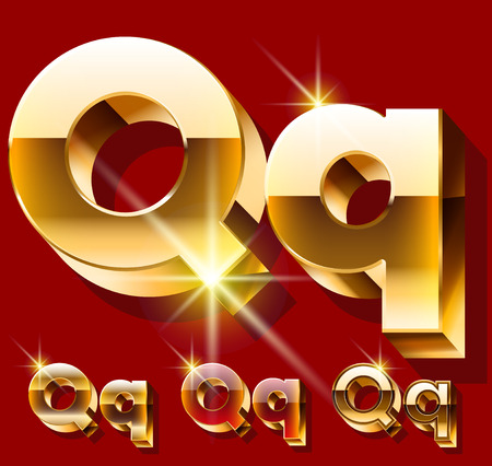 princely: Vector set of deluxe sparkling gold font. Optional red and gold style. Letter Q