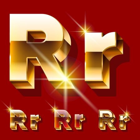 deluxe: Vector set of deluxe sparkling gold font. Optional red and gold style. Letter R Illustration