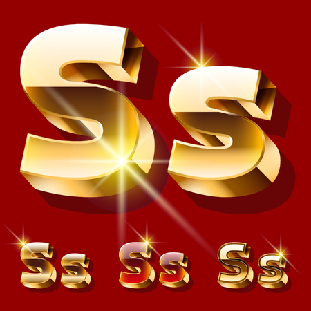 princely: Vector set of deluxe sparkling gold font. Optional red and gold style. Letter S