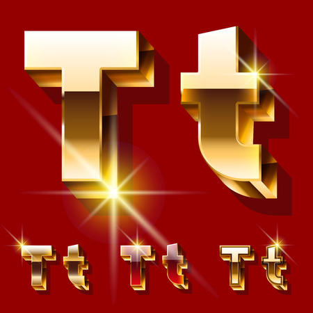 princely: Vector set of deluxe sparkling gold font. Optional red and gold style. Letter T