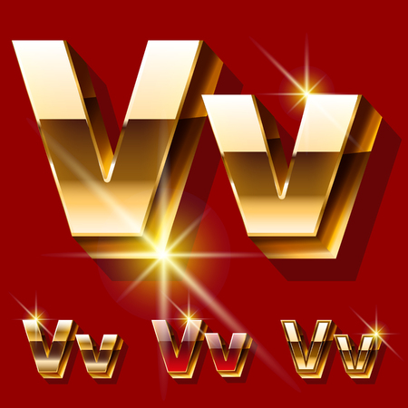 deluxe: Vector set of deluxe sparkling gold font. Optional red and gold style. Letter V Illustration