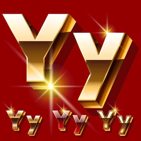 princely: Vector set of deluxe sparkling gold font. Optional red and gold style. Letter Y Illustration