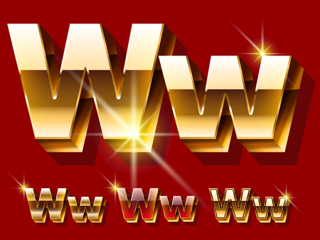 Vector set of deluxe sparkling gold font. Optional red and gold style. Letter W