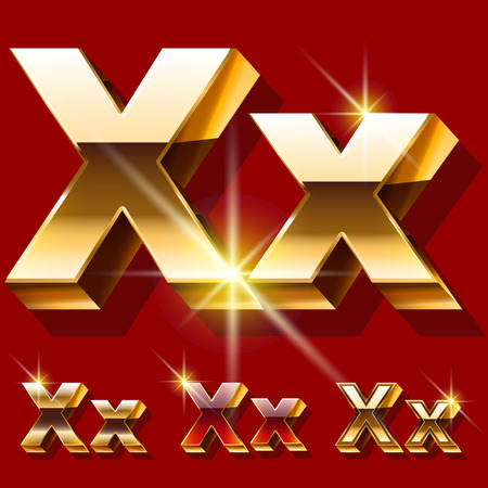 princely: Vector set of deluxe sparkling gold font. Optional red and gold style. Letter X