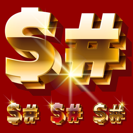 princely: Vector set of deluxe sparkling gold font. Optional red and gold style. Symbols