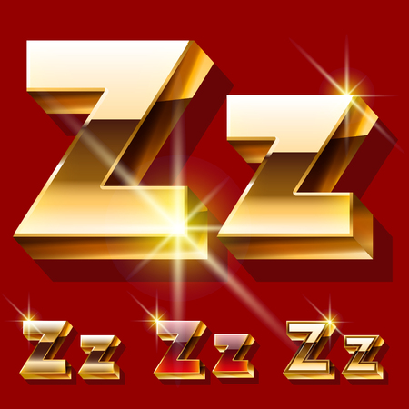princely: Vector set of deluxe sparkling gold font. Optional red and gold style. Letter Z Illustration