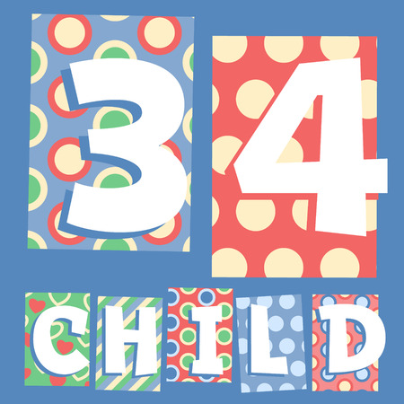 Vector set of cosy countryside children font. Numbers 3 4 Vector