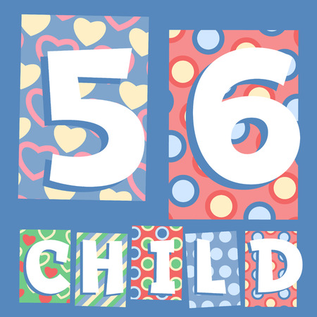 cosy: Vector set of cosy countryside children font. Numbers 5 6
