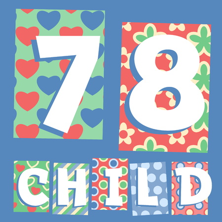 cosy: Vector set of cosy countryside children font. Numbers 7 8