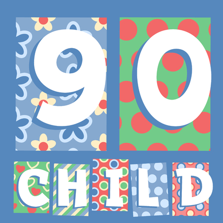 Vector set of cosy countryside children font. Numbers 9 0 Vector