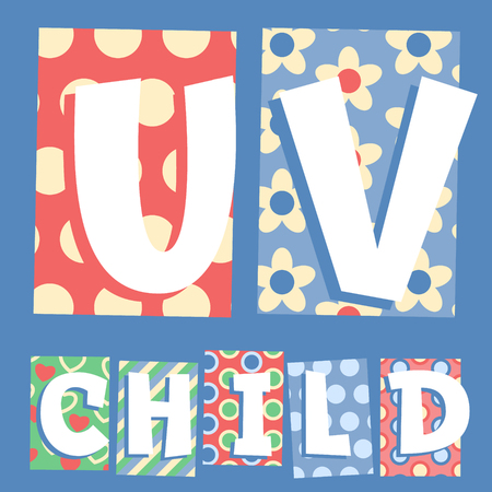 Vector set of cosy countryside children font. Letters U V Vector