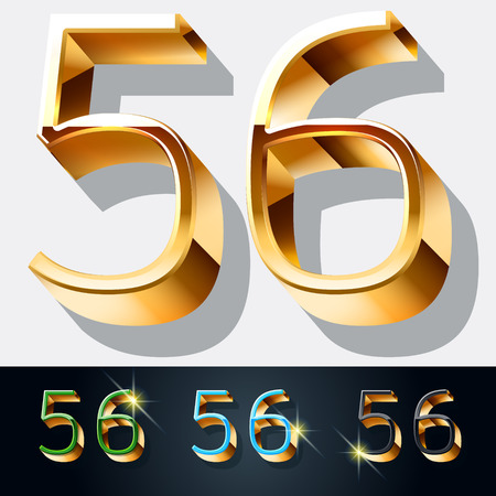 5 6: Vector set of elegant gold jewelry font. Numbers 5 6 Illustration