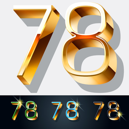 gold jewelry: Vector set of elegant gold jewelry font. Numbers 7 8 Illustration
