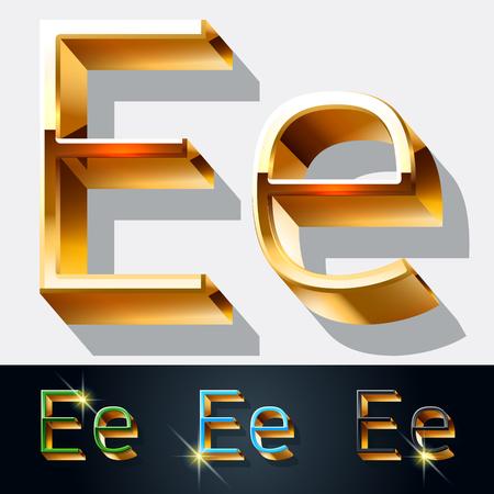 letras de oro: Vector conjunto de fuente elegante joyería de oro. Letra E