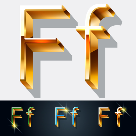 gold jewelry: Vector set of elegant gold jewelry font. Letter F