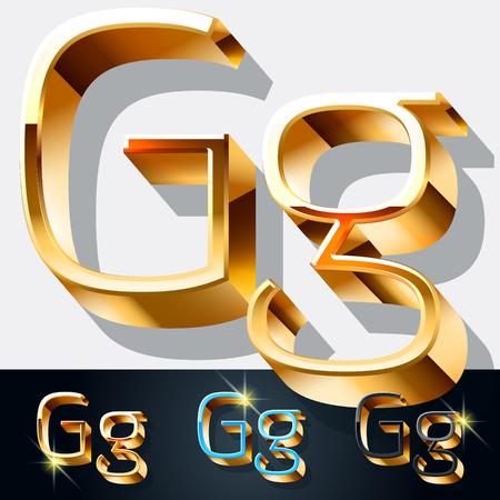 Vector set of elegant gold jewelry font. Letter G