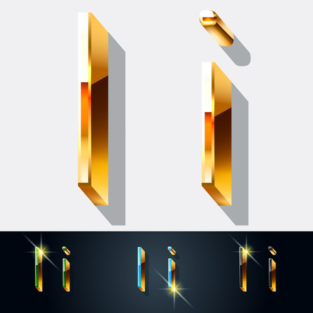gold jewelry: Vector set of elegant gold jewelry font. Letter I